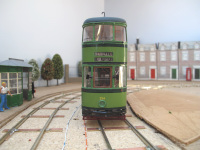 Sheffield tram 254 in 1952 green livery