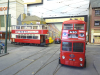 Scratch built LT tram 380 and trolleybus by Terry Russell